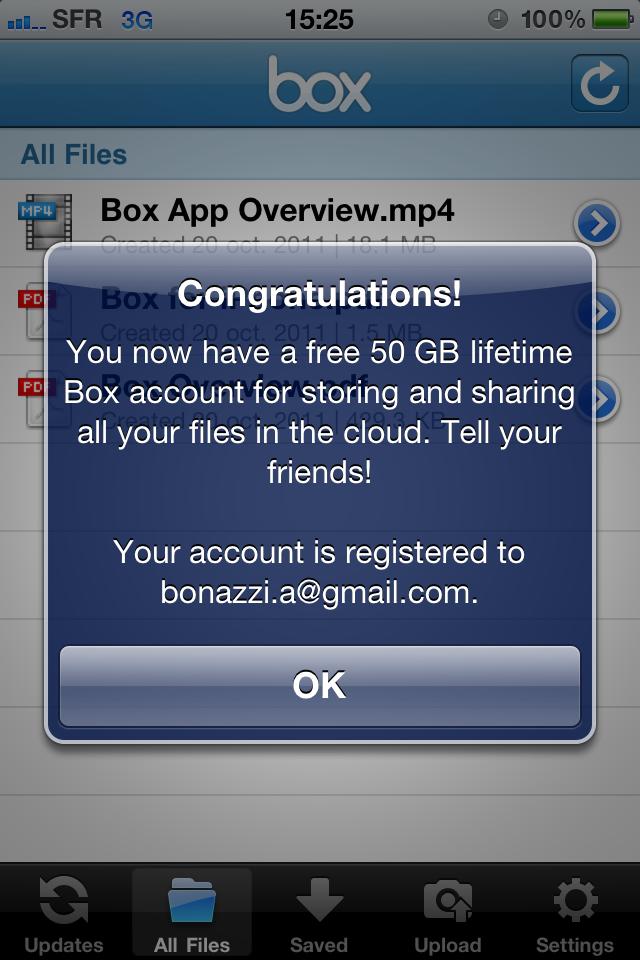 Confirmation d'inscription de Box sur iPhone