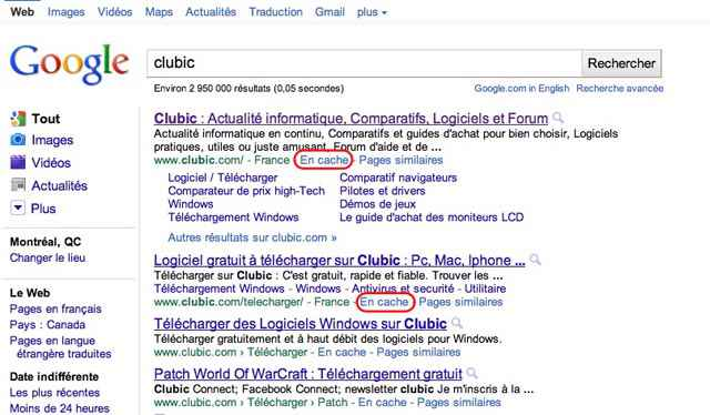 Screen de l'ancien cache de google