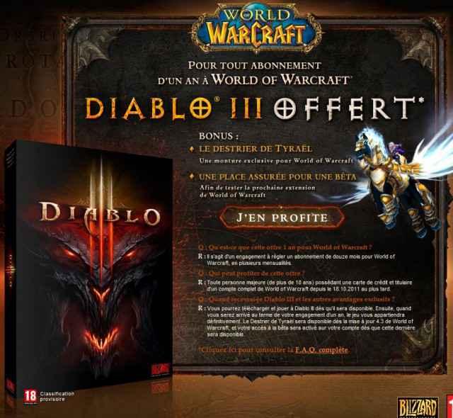 Diablo 3 en cadeau contre 1 an d'abonnement à World of Warcraft