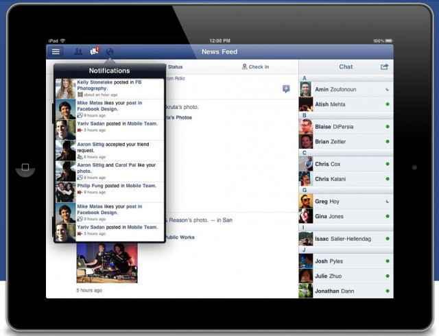 L'application facebook pour les iPad