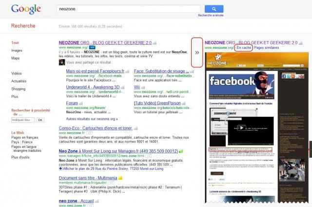Screen du nouveau cache de google