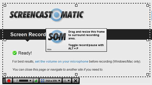 Le cadre de capture de Screencast-O-Matic