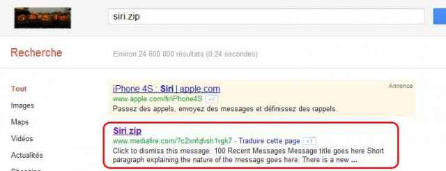 Siri.zip sur Google