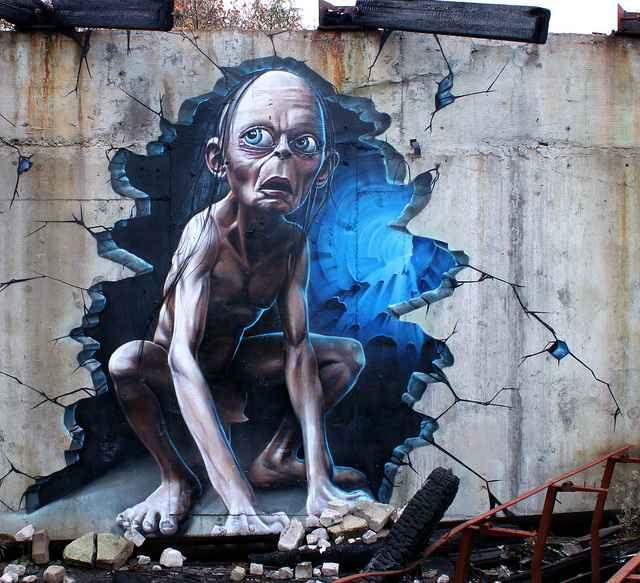 Un graffiti de Gollum