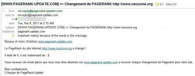 Mail de PageRank UPDATE