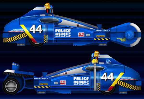 Les plans du papercraft du Spiner Police