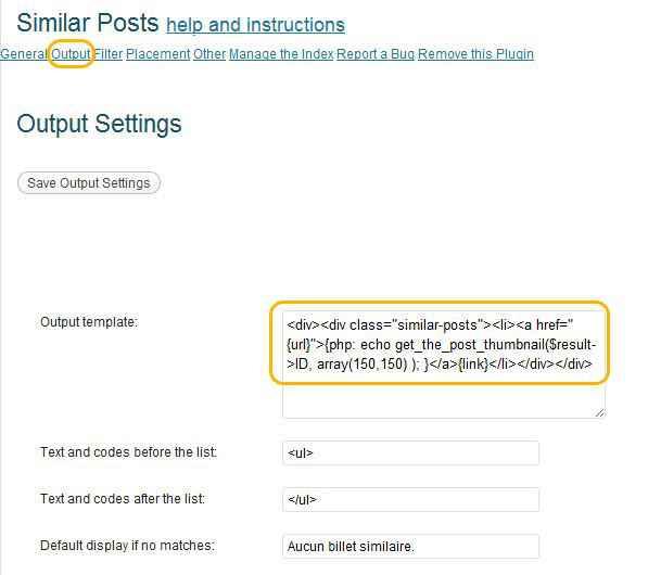 vignette | Option Output Settings de Similar Posts