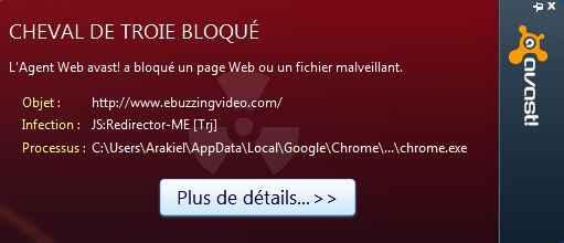 Alerte Avast sur le site Ebuzzing.fr