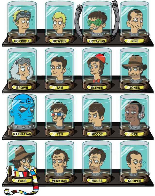 Les têtes de « docteurs » immortalisés dans Futurama