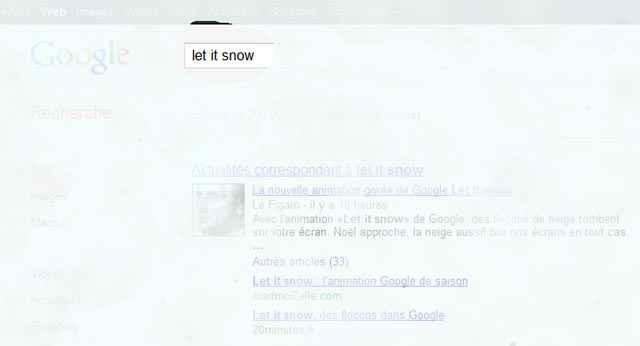 Let it snow dans la barre de recherche de Google
