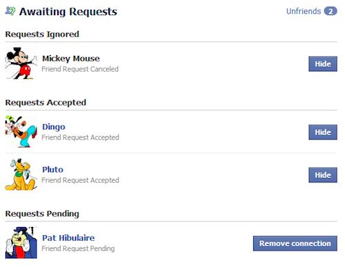 Les requêtes sans réponses de facebook