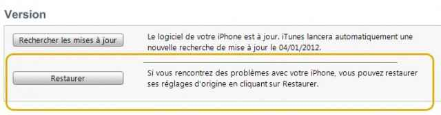 Restaurer iphone en mode usine