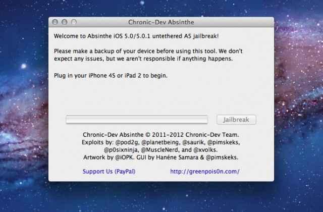 Absinthe A5 pour Mac - Le jailbreak (untethered) pour l'iPhone 4S et l'iPad 2