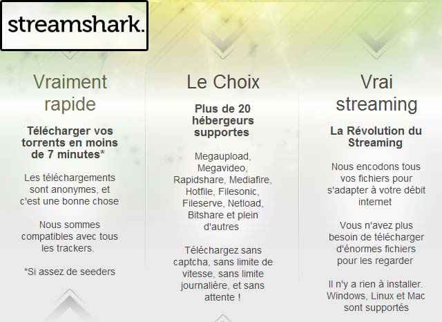 Streamshark - Une alternative à MegaUpload