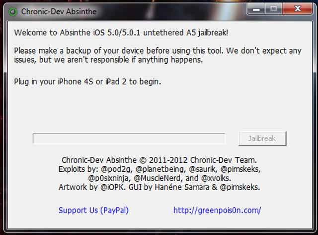 Absinthe A5 pour PC (Windows) – Le jailbreak (untethered) pour l'iPhone 4S et l'iPad 2