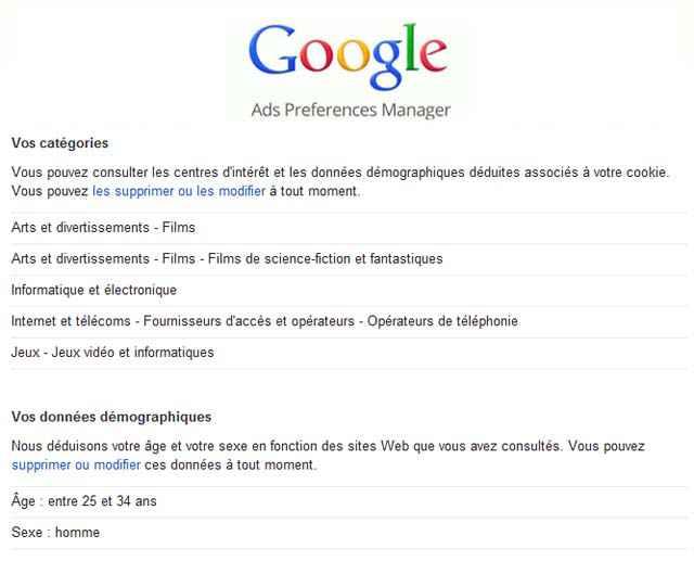 Votre profil et votre âge selon Google