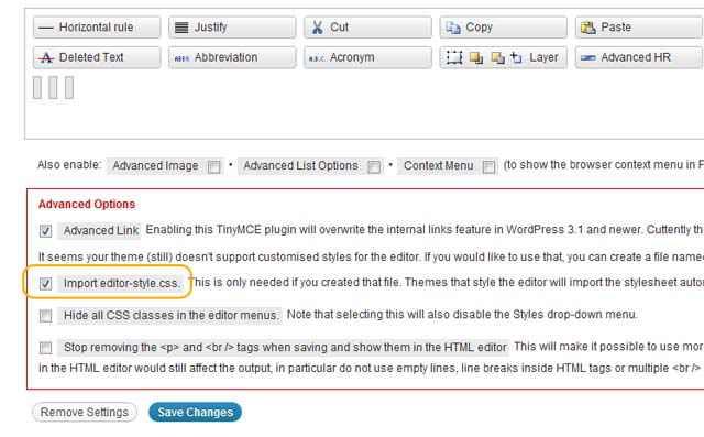 TinyMCE Advanced - Le retour des style personnalisés (editor-style.css)