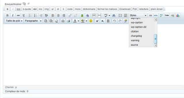 TinyMCE Advanced - Le retour des styles personnalisés (editor-style.css)