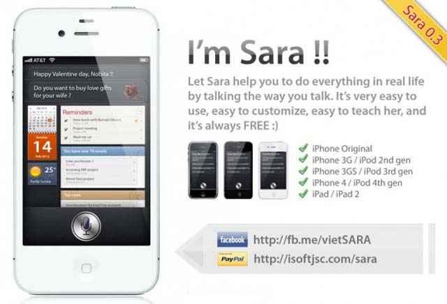 Sara - Une alternative à Siri pour iPhone, iPad et iPod