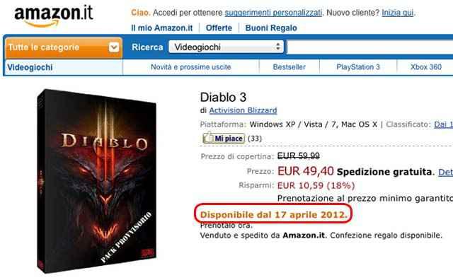 Diablo 3 - Sortie le 17 avril 2012 d'après Amazon.it