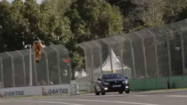Un Jet Pack défie une voiture de course sur le circuit d'Albert Park