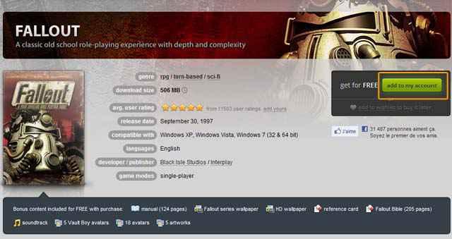 GOG - Télécharger gratuitement Fallout pendant 48h