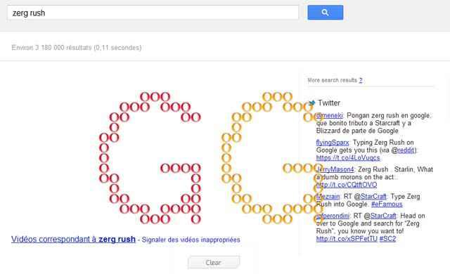 Easter egg - Le Zerg Rush de Google