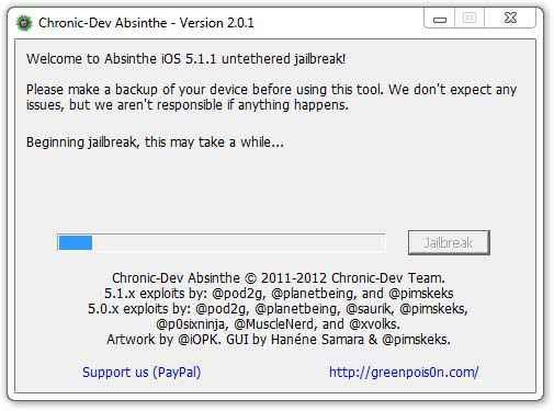 Absinthe 2.0.1 - Jailbreak iOS 5.1.1 Untethered pour iPhone 3GS/4/4S iPad 1/2/3 et iPod 3/4