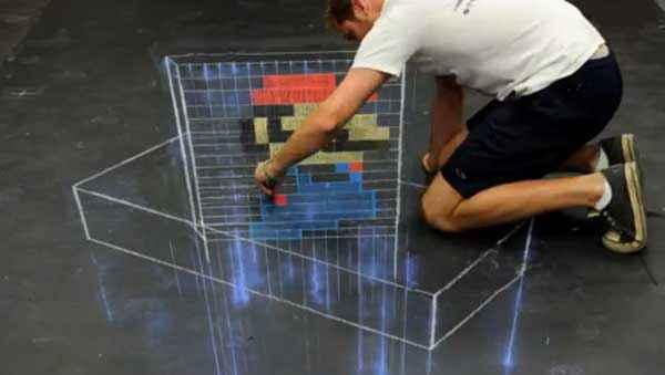 Un « street painting » de Mario en 3D et en Time Lapse