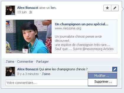 Facebook - Comment modifier un commentaire