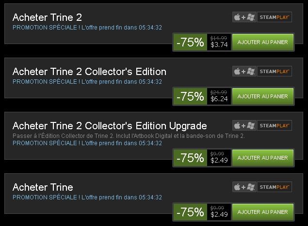 Promo Steam | -75% sur Trine 1 & 2 et Portal 2