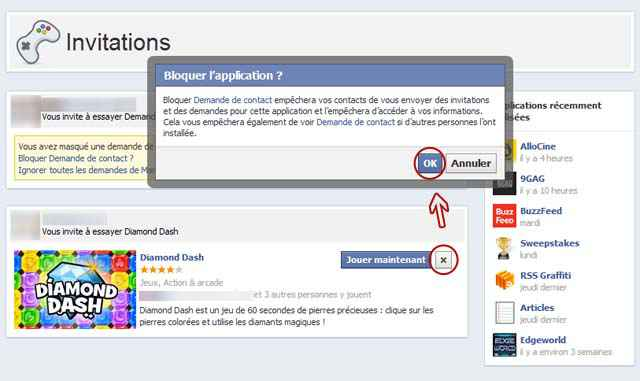 Facebook - Bloquer définitivement les invitations d'applications (App Center)