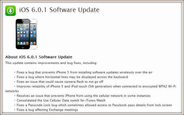 Télécharger le firmware iOS 6.0.1