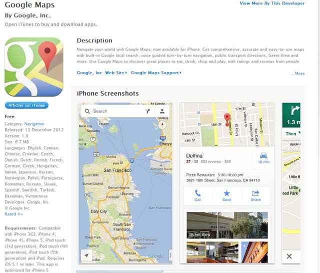 Google Maps disponible sur iTunes