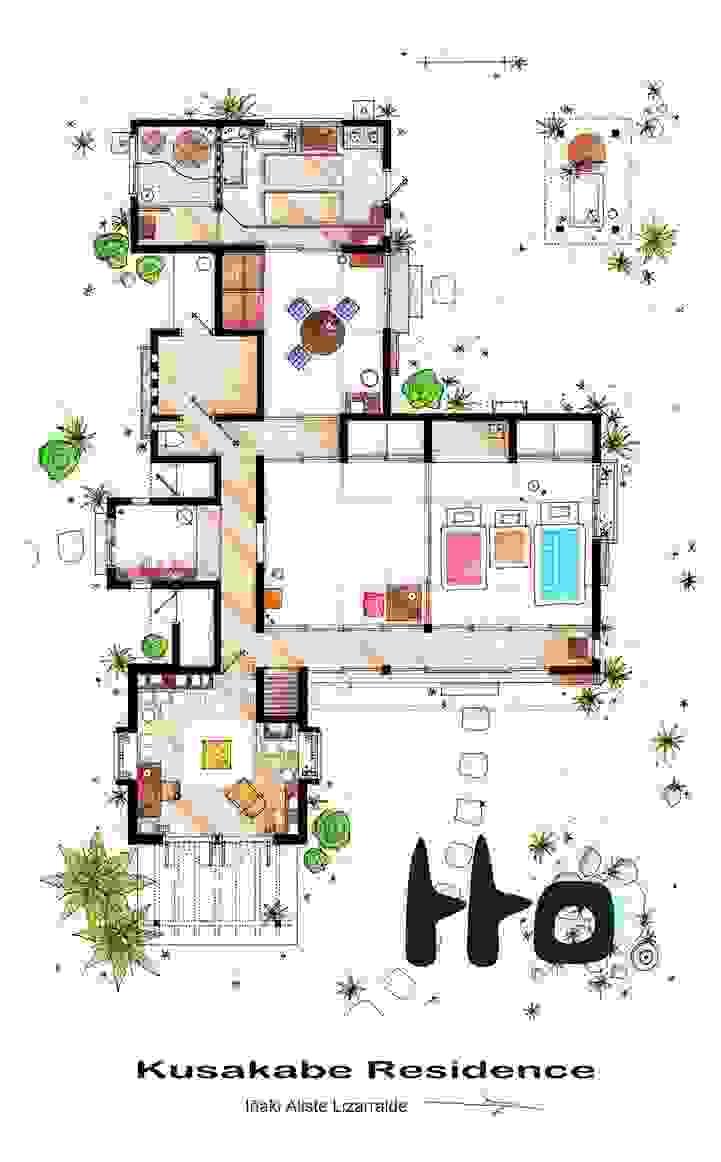 Les plans détaillés de la maison des simpson dexter frasier the big bang theory etc