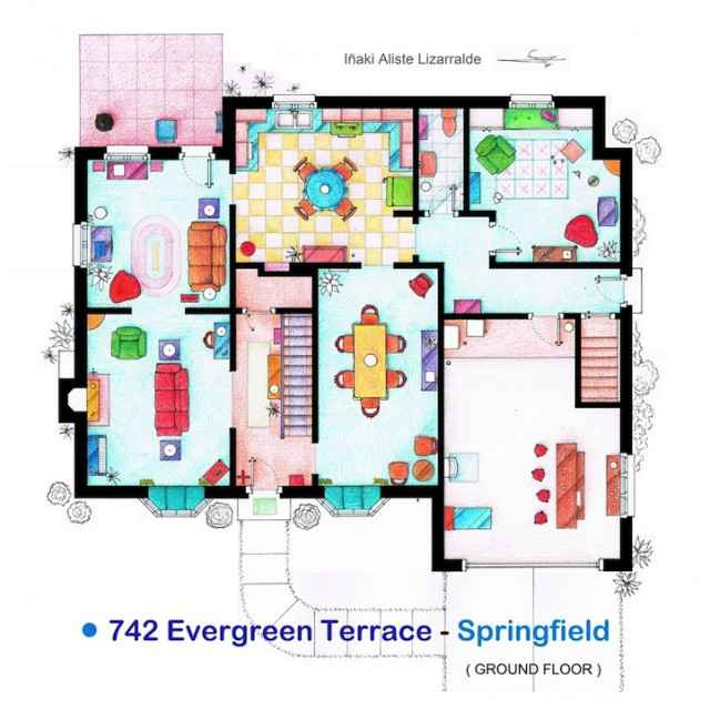Les plans détaillés de la maison des Simpsons, Dexter, Frasier, The big Bang Theory etc...