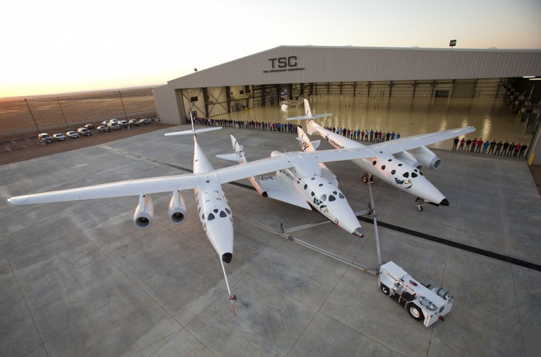 THE SPACESHIP COMPANY unveils its new and first final assembly facility. The hangarknown as FAITH- (Final Assemmbly Integration Test Hangar). In the foreground is the mated pair, WhiteKnnight Two and SpaceShip Two.