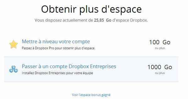 Dropbox - 1Go de stockage supplémentaire avec Mailbox
