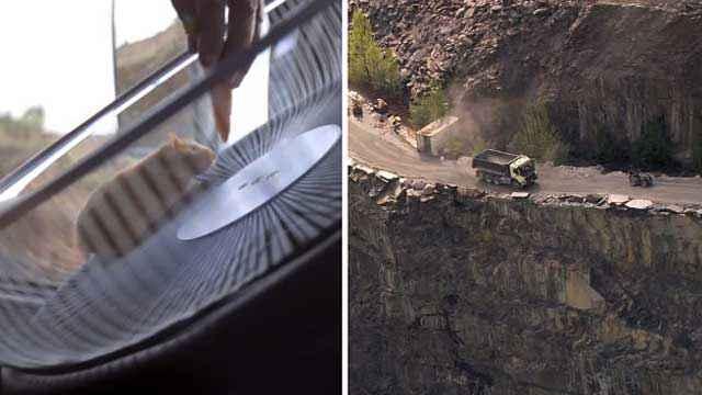 Un hamster conduit un camion de 17 tonnes sur une route à flanc de falaise de Cliffside
