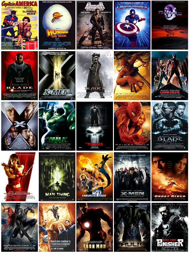 marvel comics liste des films