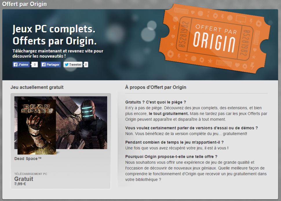 Offert par Origin Téléchargez des jeux PC gratuits Jeux Origin Jeux Origin