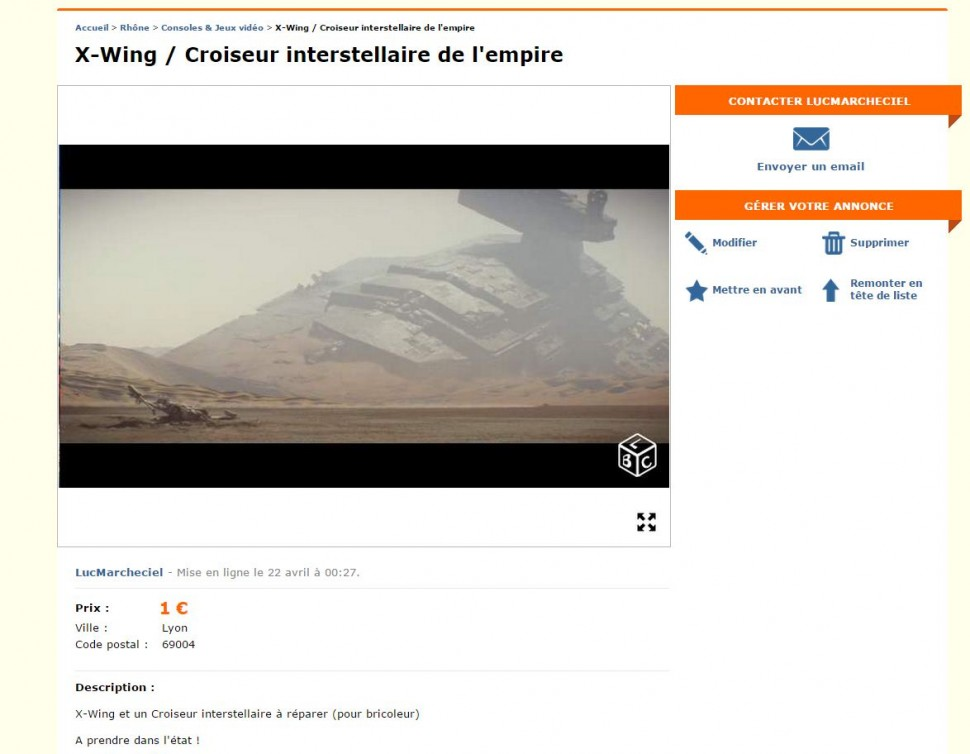 leboncoin-X-Wing -Croiseur-interstellaire-de-l-empire-starwars-001