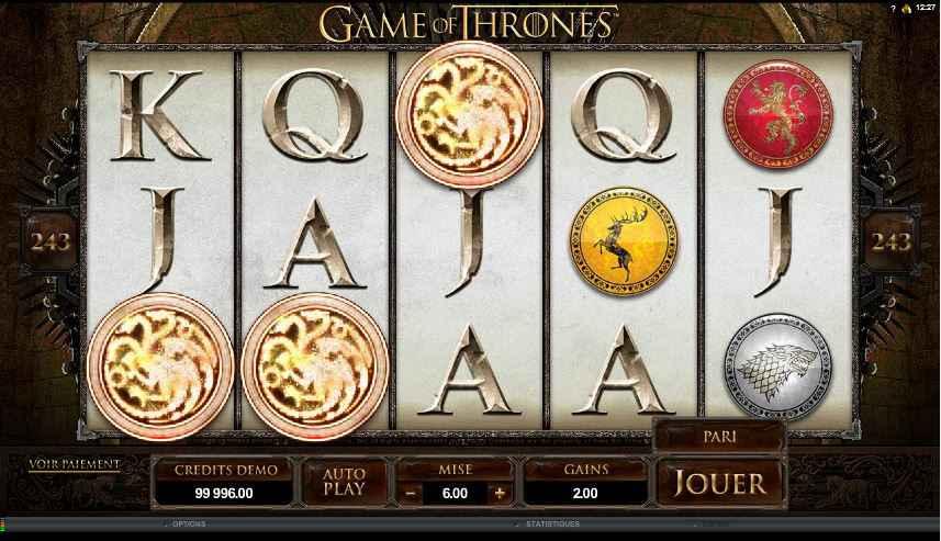jeux casino game of thrones