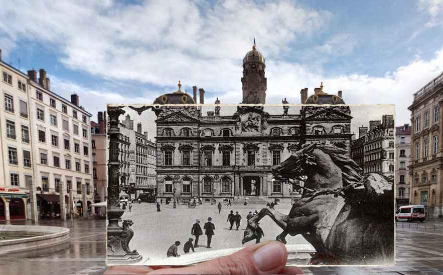 Fenetre -temporelle-Lyon-Place-des-Terreaux-Hotel-de-ville-1918