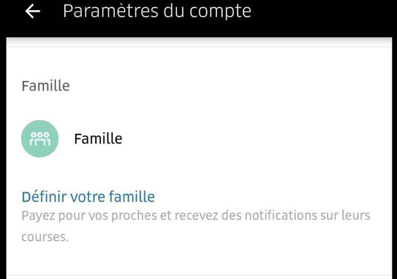 UBER compte Famille, code PROMO