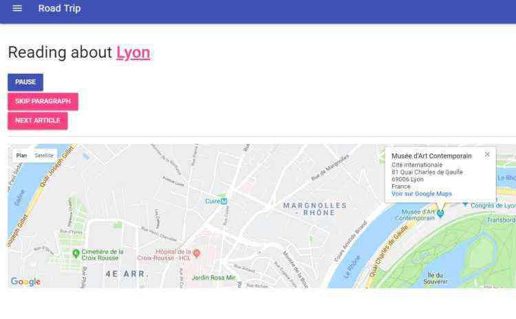 RoadTrip, l'application qui lit les fiches des villes sur Wikipédia