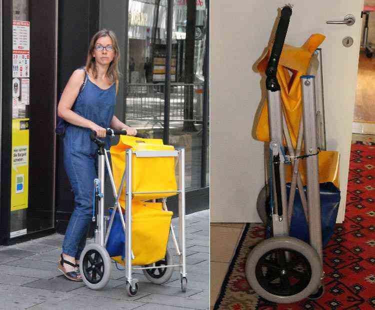 Ce panier de course se transforme en remorque à vélo et en chariot de supermarché