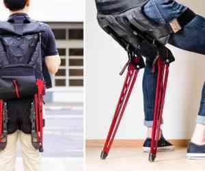 L'exosquelette LEX se transforme en chaise et réduit de 50% le poids de votre sac à dos