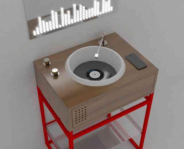 VINYL Olympia Ceramica, la vasque de salle de bain en forme de platine vinyle