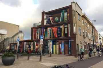 Une magnifique fresque transforme cette façade en bibliothèque géante